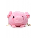 Cute Cartoon Pig Shape Pink Plush Crossbody Bag with Chain Strap