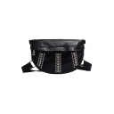 New Fashion Plain Rivet Rhinestone Embellishment Shoulder Messenger Bag Waist Bag 25*4*18 CM