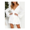 Womens Summer New Trendy Solid Color V-Neck Long Sleeve Layered Ruffle Mini A-Line Dress
