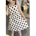 Trendy Polka Dot Printed Sleeveless Square Neck Mini A-line Dress for Women