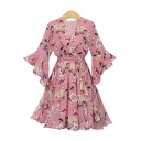 Women's New Trendy Floral Printed V-Neck Ruffle Long Sleeves Bow-Tide Waist Midi A-Line Chiffon Dress