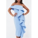 Women's Hot Fashion Plain Print Ruffle Detail One Shoulder Midi Bandeau Cotton Dress