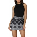 Women's Hot Fashion Geometric Print Round Neck Sleeveless Rhinestone Embellished Mini Black Tank Dress