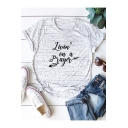 Living on a Prayer Feather Letter Printed Short Sleeve Casual Cotton Tee