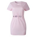 Womens Solid Color Round Neck Short Sleeve Cut Out Waist Mini T-Shirt Dress