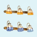 3 Lights Dining Room Wall Sconce Stained Glass 3 Lights Tiffany Style Wall Lamp in Blue/Yellow