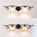 Tiffany Style White/Yellow Sconce Light 2 Lights Glass Sconce Lamp for Bedroom Bathroom
