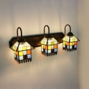 Living Room House Sconce Light Stained Glass 3 Lights Tiffany Style Antique Sconce Lamp