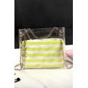 New Trendy Stripe Pattern Transparent Crossbody Bag 16.5*6.5*17 CM