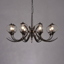 Vintage Candle Chandelier Light 8 Lights Metal Hanging Chandelier in Black for Foyer