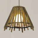 Bamboo Empire Shade Suspended Ceiling Light Lodge Style One Bulb Hanging Lamp for Cafe, 14