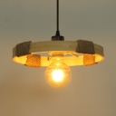 Beige Round Pendant Lighting Single Light Industrial Wood and Rope Hanging Light for Kitchen