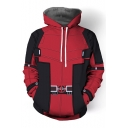 Fashion 3D Pattern Colorblocked Cosplay Costume Red Drawstring Hoodie