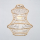 Single Light Ceiling Light with Shade Single Light Antique Style Rattan Hanging Light Fixture for Foyer