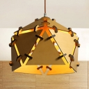 Single Bulb Beige Pendant Light Fixture Antique Style Bamboo Hanging Light for Living Room