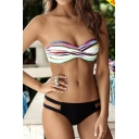 Fashion Striped Printed Sleeveless Top Cut Out Bottom Bikini Swimwear