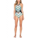 Womens Summer Chic Ethnic Printed Halter Neck Slim Fit Blue One Piece Swimsuit Swimwear