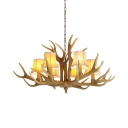 Resin Tapered Shade Chandelier with Antlers Decoration 6/8/9 Lights Antique Style Pendant Light