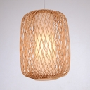 Antique Style Pendant Lighting with Shade Single Light Rattan Ceiling Light for Dinning Room Foyer