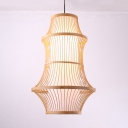 Rustic Style Pendant Light Single Light Bamboo Ceiling Light in Beige for Dining Room Restaurant
