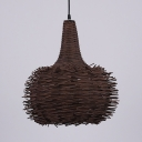 Rustic Style Oval Ceiling Light 1 Light Rattan Pendant Lighting Fixture in Brown