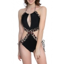 Trendy Leopard Printed Halter Neck Sexy Hollow Out Black One Piece Swimsuit for Women