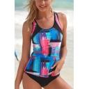 Hot Fashion Blue Pattern Scoop Neck Womens Beach Tankini Swimwear