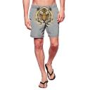 Cool Tiger Printed Guys Grey Drawstring Waist Outdoor Beach Swim Trunks