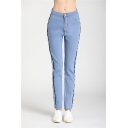 New Trendy Stripe Tape Side Womens Vintage Light Blue Classic-Fit Jeans