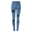 Vintage Light Blue Fashion Star Print Skinny Fit Jeans for Women