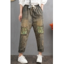 Retro Washed Drawstring Waist Letter Patchwork Ripped Loose Casual Jeans for Women