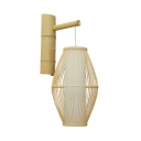 Beige Curved Wall Light Single Light Vintage Style Bamboo Hanging Wall Sconce for Bedroom Living Room