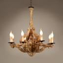 Vintage Style Chandelier Light with Candle Shape 8 Lights Wood Pendant Lamp for Dining Room Foyer