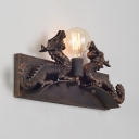 Open Bulb Wall Light with Dragon Decoration 1 Light Industrial Sconce Light in Rust for Corridor