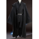 New Stylish Cosplay Costume Simple Plain Black Hooded Cape Cloak Coat