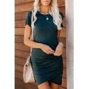 Women's Basic Simple Plain Short Sleeve Round Neck Mini Sheath T-Shirt Dress