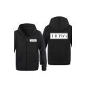 Cool Simple Letter The 1975 Print Long Sleeve Zip Up Hoodie