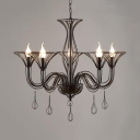 Metal Iron Wire Hanging Chandelier 3/6 Lights American Rustic Pendant Lighting in Black for Foyer