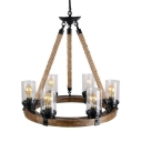 Round Living Room Hallway Pendant Lighting Metal and Rope 6 Lights American Vintage Chandelier in Brown