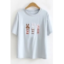 Summer Girls Lovely Three Rabbit Embroidery Short Sleeve T-Shirt