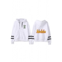 Fashion Letter Snake Logo Striped Long Sleeve Pullover Hoodie