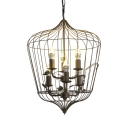 Bird Cage Living Room Chandelier Metal 6 Lights Vintage Style Suspension Light in Black