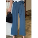 Summer Basic Solid Color Tied Waist Womens Capri Wide-Leg Pants