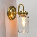 Antique Style Jar Wall Light Single Light Metal and Clear Glass Wall Sconce for Hallway Study