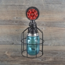 Industrial Sconce Light with Wire Cage Single Light Metal and Clear/Blue Glass Wall Lamp for Restaurant