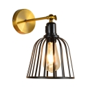 Bell Shape Living Room Wall Lamp Metal Single Light Industrial Sconce Light in Black