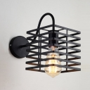 Black Square Shaped Wall Sconce for Restaurant Hallway Vintage Metal Cage Frame Wall Light