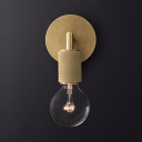 Industrial Brass/Chrome/Black Wall Light with Open Bulb 1 Light Metal Wall Sconce for Bedroom Study