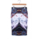 Women's Vintage Swan Pattern Sexy Fitted Midi Pencil Skirt