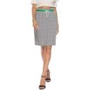 Womens Classic Plaid Printed High Rise Drawstring Waist Shift Knee Length Skirt